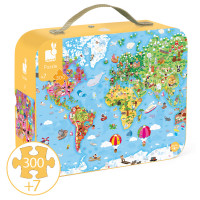 Janod - Giant World Suitcase Puzzle (x3)
